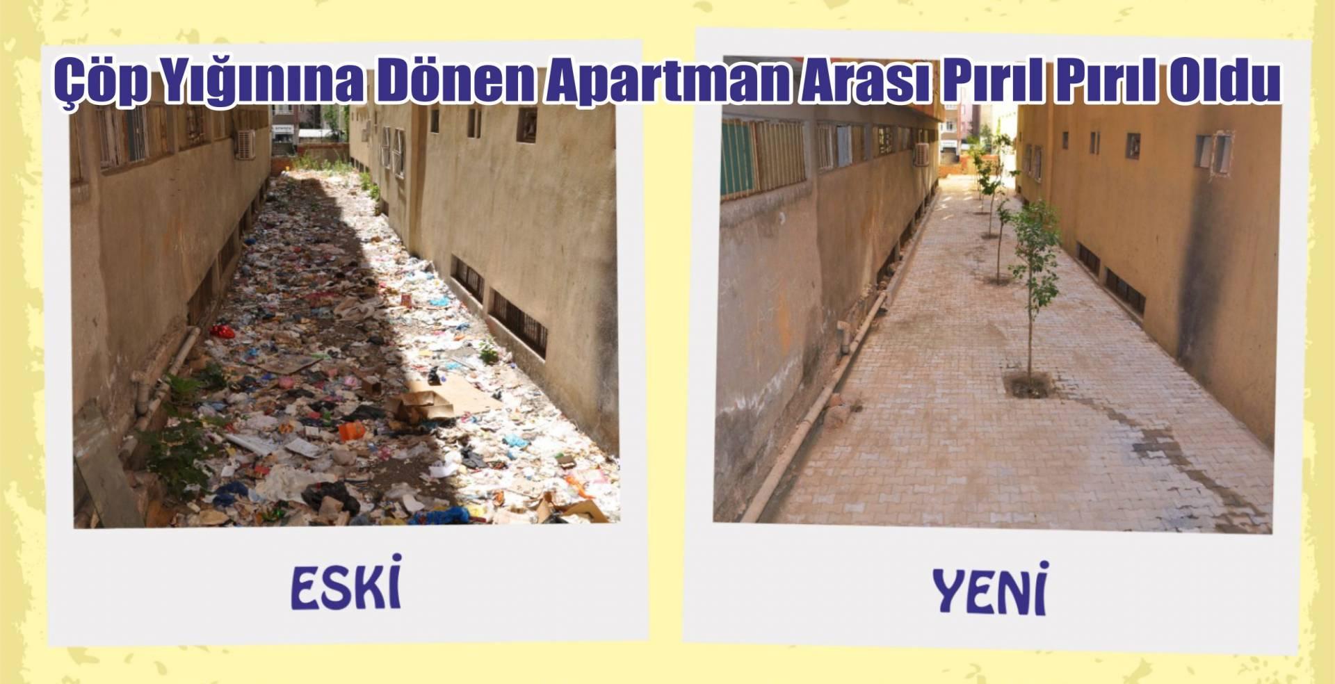 Belediyeden apartman arası temizliği