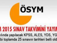 2015 Yılı ÖSYM Sınav Takvimi Açıklandı