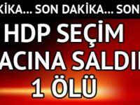 Bingöl'ün Karlıova ilçesinde HDP'nin seçim aracına kimliği belirsiz kişi ya da kişilerce silahlı düzenlendi. Saldırıda 1 kişi hayatını kaybetti.