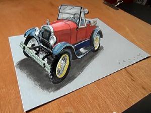 İnanılmaz 3D araba çizimi